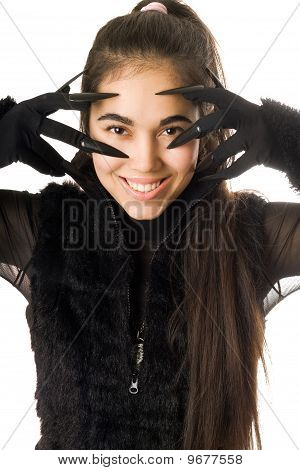 Portrait Of Smiling Young Woman In Gloves