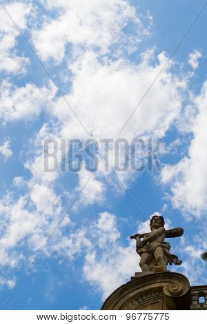 Statue On Top Of Pamplona City Hall
