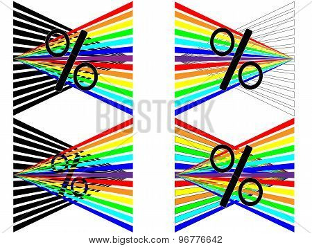Four percent of the rainbow to show the sales