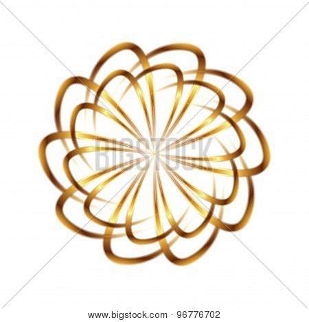 Golden circular element logo template