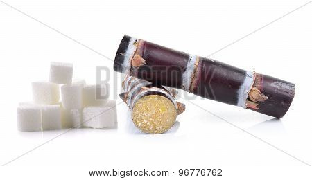 Sugar Cane And Sugar Cube On White Background