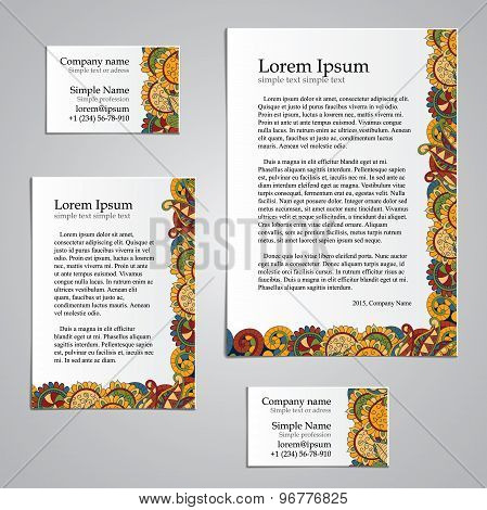 Tracery Card Business design set - natural mood, mehndi