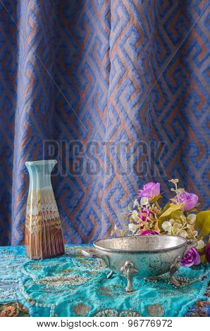 Moroccan Style Vase And Flowers.