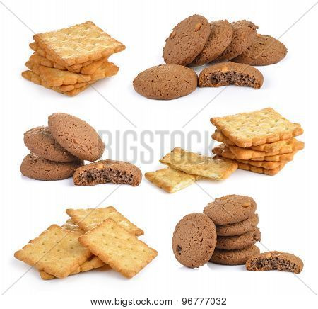 Cookie And Cracker On White Background