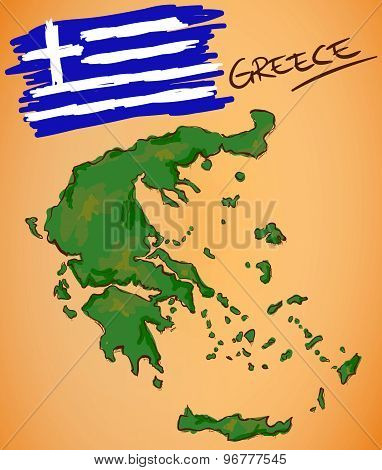 Greece Map And National Flag Vector
