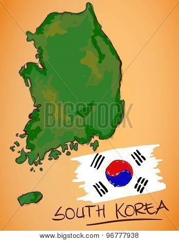 South Korea Map And National Flag Vector