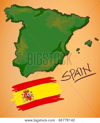 Spain Map And National Flag Vector