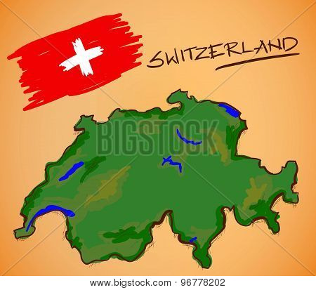 Switzerland Map And National Flag Vector