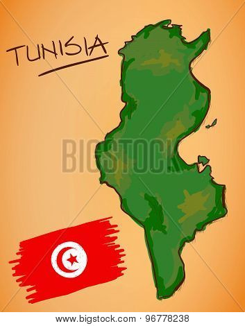 Tunisia Map And National Flag Vector
