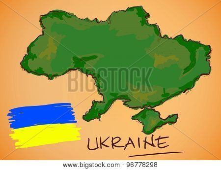 Ukraine Map And National Flag Vector