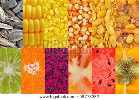 Bergamot, Citrus Fruit, Melons, Tomatoes, Peppers, Corn, Lotus Seed  Healthy Food Background