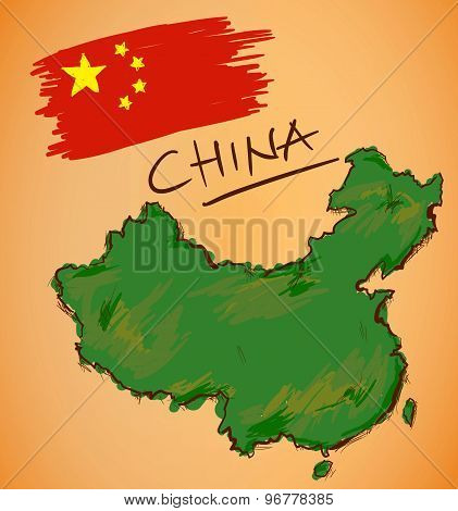 China Map And National Flag Vector