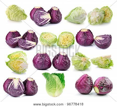 Red And Green Cabbage Isolated On White Background