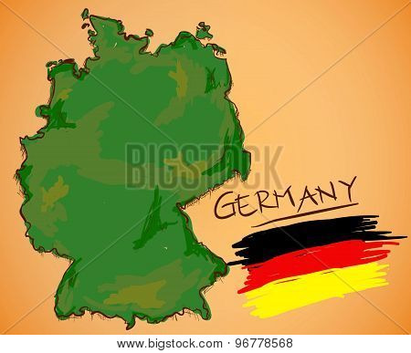 Germany Map And National Flag Vector