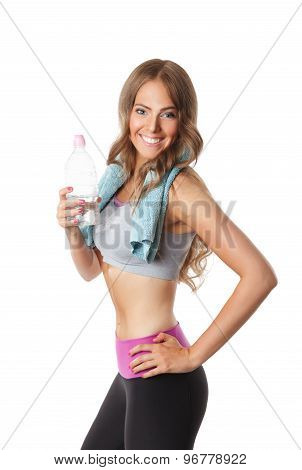 Pretty Woman Drinking Water After Workout
