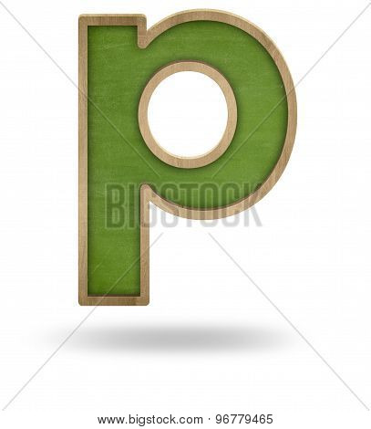 Green blank letter p shape blackboard