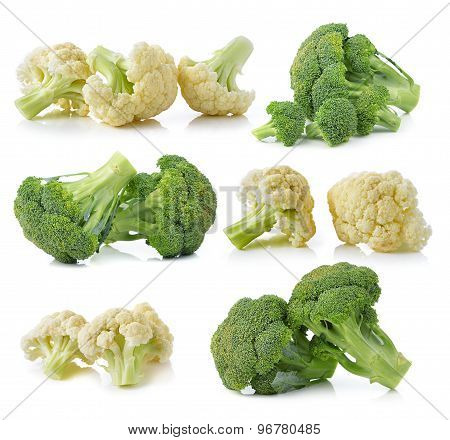 Broccoli And Fresh Cauliflower Isolated On White Background