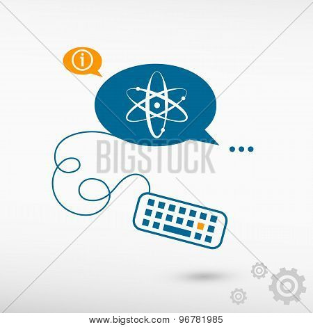 Atom Molecule And Keyboard On Chat Speech Bubbles