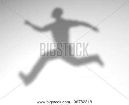 Jumping Man Shadow. Overcoming Obstacles And Challenges Concept.