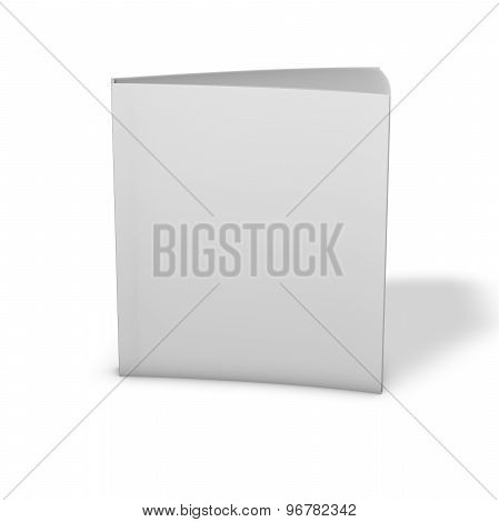 Textbook Standing, 3D Render With Shadow, Isolated On White. Empty Cover Book For Your Text.