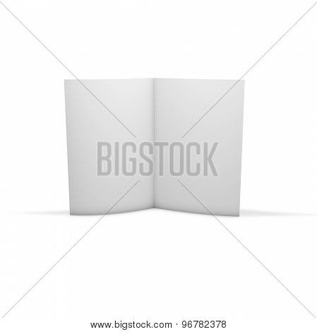 Open Brochure, Advertising Flier Publication, Isolated On White Standing On Floor With Shadow.