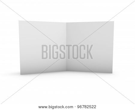 Two Page Leaflet With Blank Pages And Copy Space. Render Illustration With Shadow And Blank Pages.