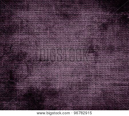Grunge background of dark byzantium burlap texture