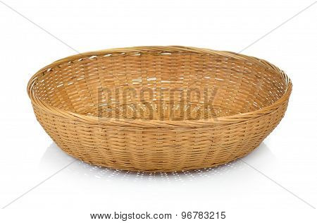 Wooden Bamboo  Basket Isolated On White Background