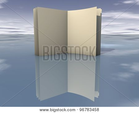 Open Empty Book Standing Template With Copy Space And Blue Clouds Background