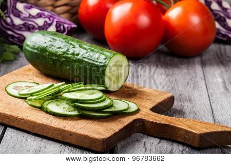 Chopped Vegetables: Cucumber On Cutting Board