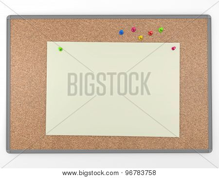 Cork Board Background Texture With Blank Information Note Paper