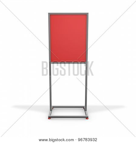 Blank Advertising Board With Red Background