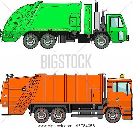 Garbage trucks  on a white background in a flat style
