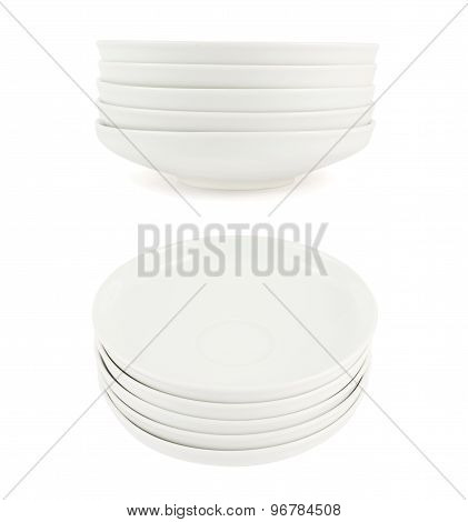 Stack pile of white ceramic plate dishes