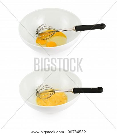 Mixing yolk and protein with an egg beater mixer