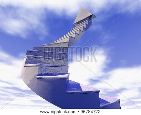 Stairs Of Career Blue Sky Concept Illustration