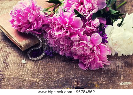Retro  Background -  Pink  Peonies Flowers, Pearl, Old Book
