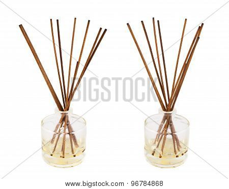 Aroma sticks in a glass flask isolated