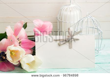 Background With Empty Tag And Flowers