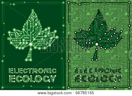 flyers of green leaf maple with computer and motherboard elements