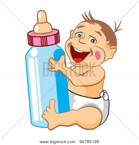 drawing cartoon smiling baby with a bottle of milk