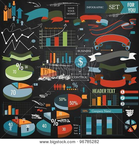 Collection Of Vector Infographic Elements, Ribbons And Diagrams