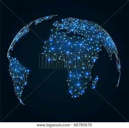 World Map With Shining Points, Network Connections