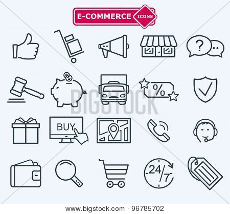 Lines Icons Set, E-commerce, Shopping