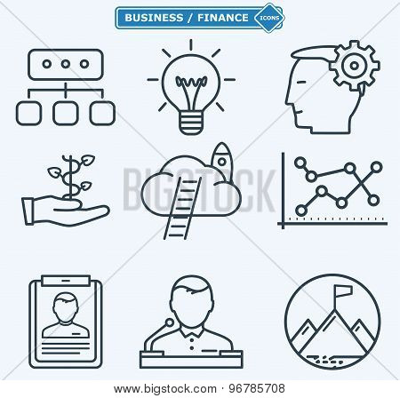 Line Icons, Business People In A Work Process,  Company Seminar Training, Workforce Management