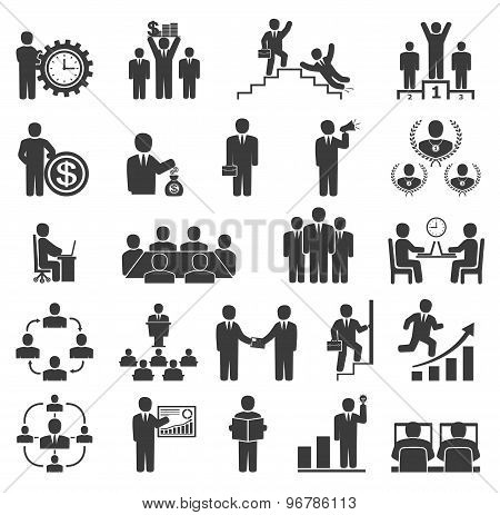Business People In Work. Office Icons, Conference, Computer Work,  Team Working, Motivation To Succe