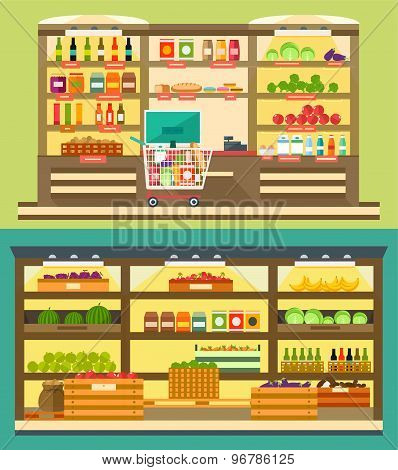 Grocery Store, Supermarket Shelves With Food And Drink, Store Room With Products.