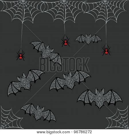 Pattern Of Bats Spiders And Cobwebs