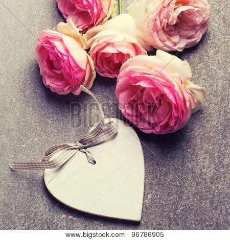 Roses And Decorative Heart