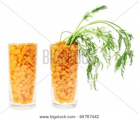 Glass full of carrot pieces isolated